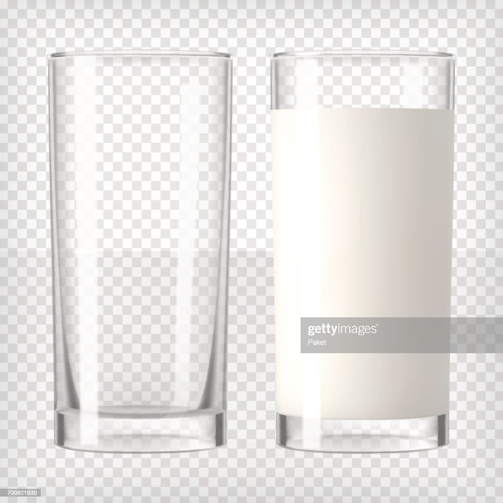 Milk in a glass and an empty glass