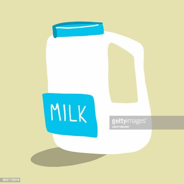 milk in a plastic bottle - coconut milk stock illustrations, clip art, cartoons, & icons