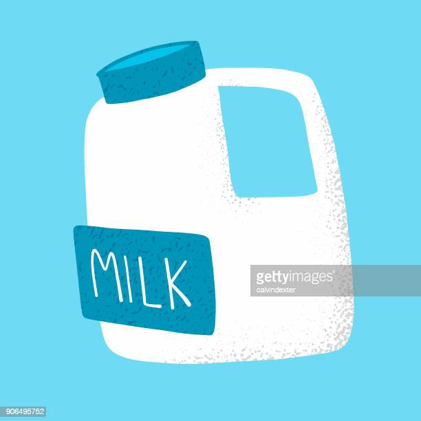 milk in a plastic bottle - milk bottle stock illustrations