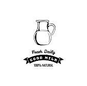 Milk jug icon. Milk drink logo, label. Frash daily and good milk inscriptions. Vector.