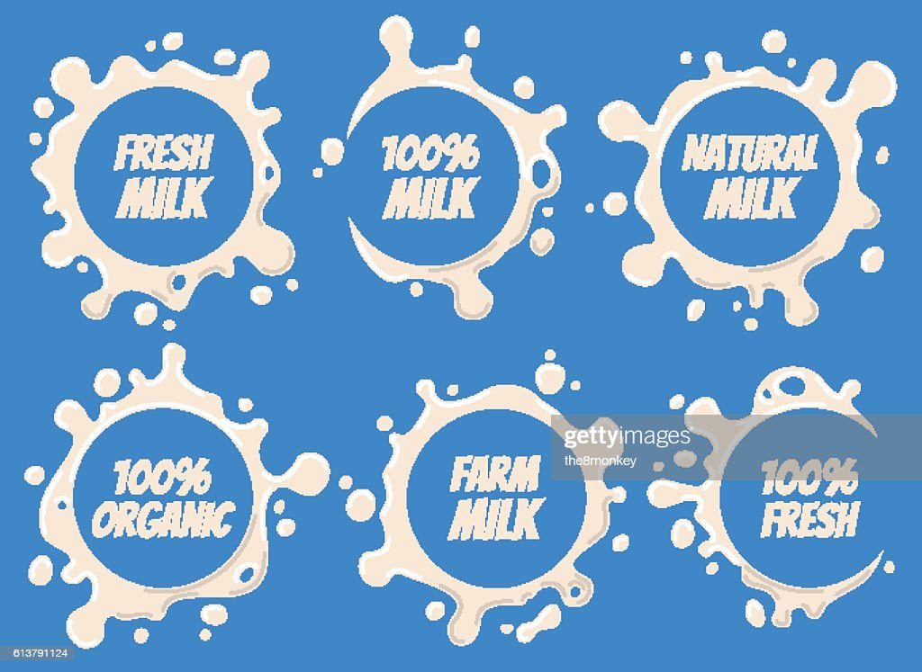 Milk Logo and Labels Designs with Lettering Set. Vector Splashes