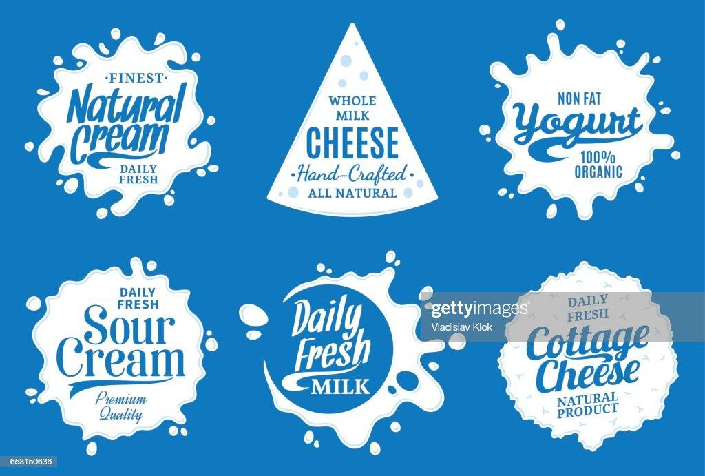 Milk product labels. Milk, yogurt or cream splashes