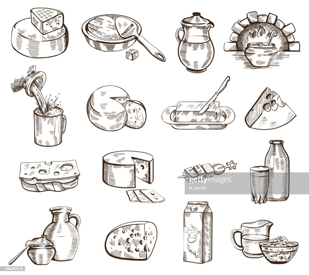Milk products vector set