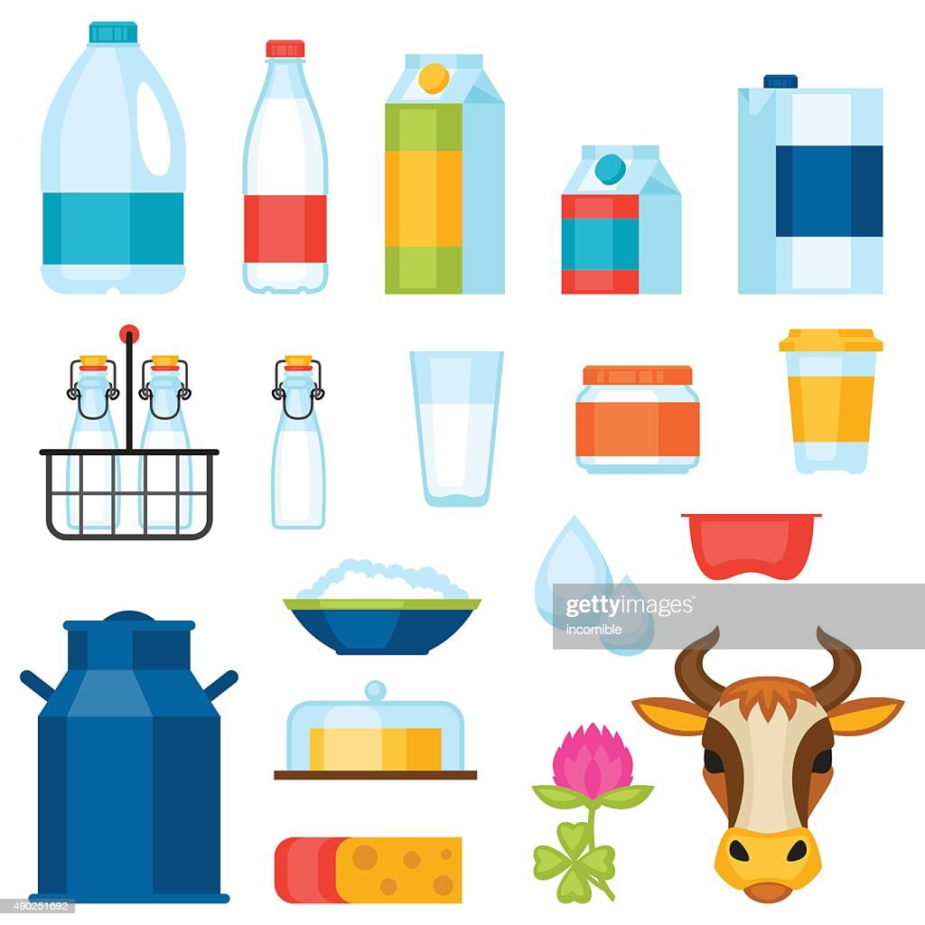 Milk set of dairy products and objects