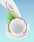 Milk splash and coconut. 3d vector object. Natural dairy products