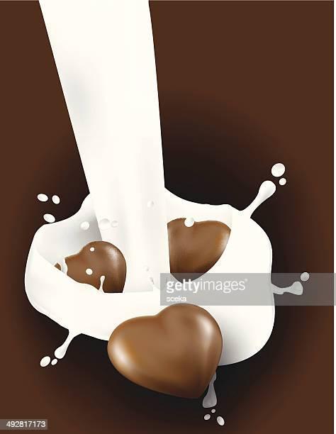 milk splash in chocolate - milk chocolate stock illustrations, clip art, cartoons, & icons