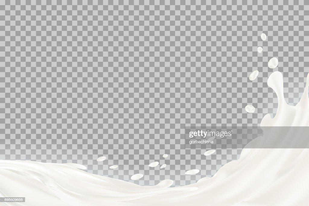 Milk splash with shadow over transparent background. vector 3d illustration.