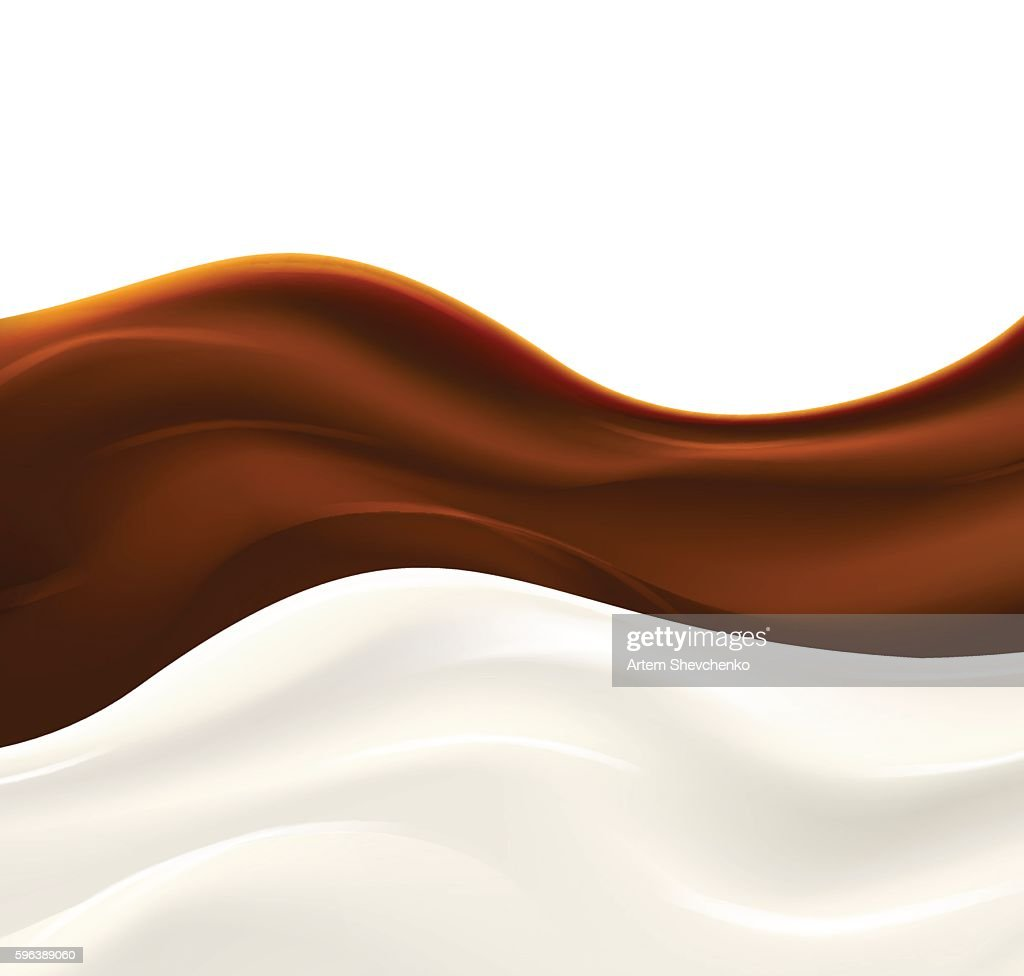 Milk wave with chocolate syrup on white background.