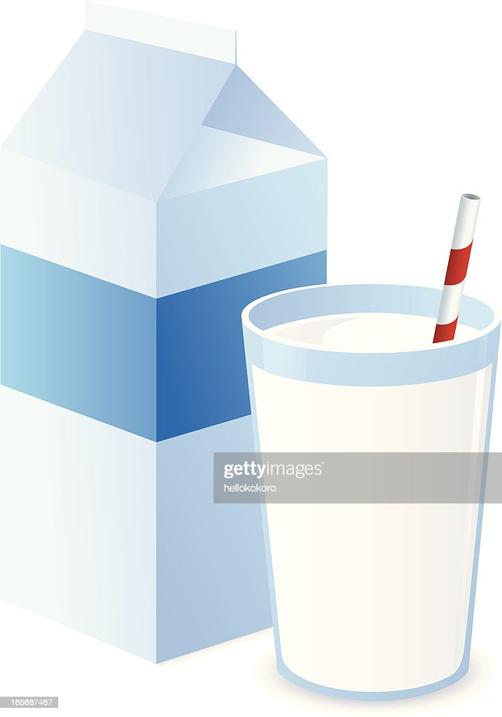 Milk with Straw and Carton : stock illustration