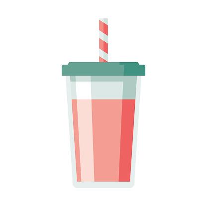 Milkshake Flat Design Dessert Icon - gettyimageskorea