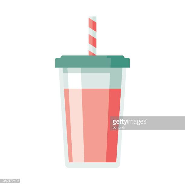 illustrazioni stock, clip art, cartoni animati e icone di tendenza di milkshake flat design dessert icon - bibita