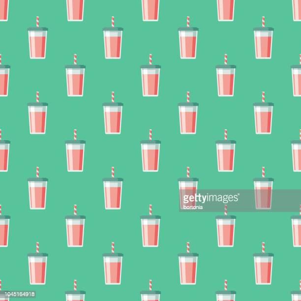 ilustrações, clipart, desenhos animados e ícones de milk-shake doce sobremesas padrão sem emenda - milk shake