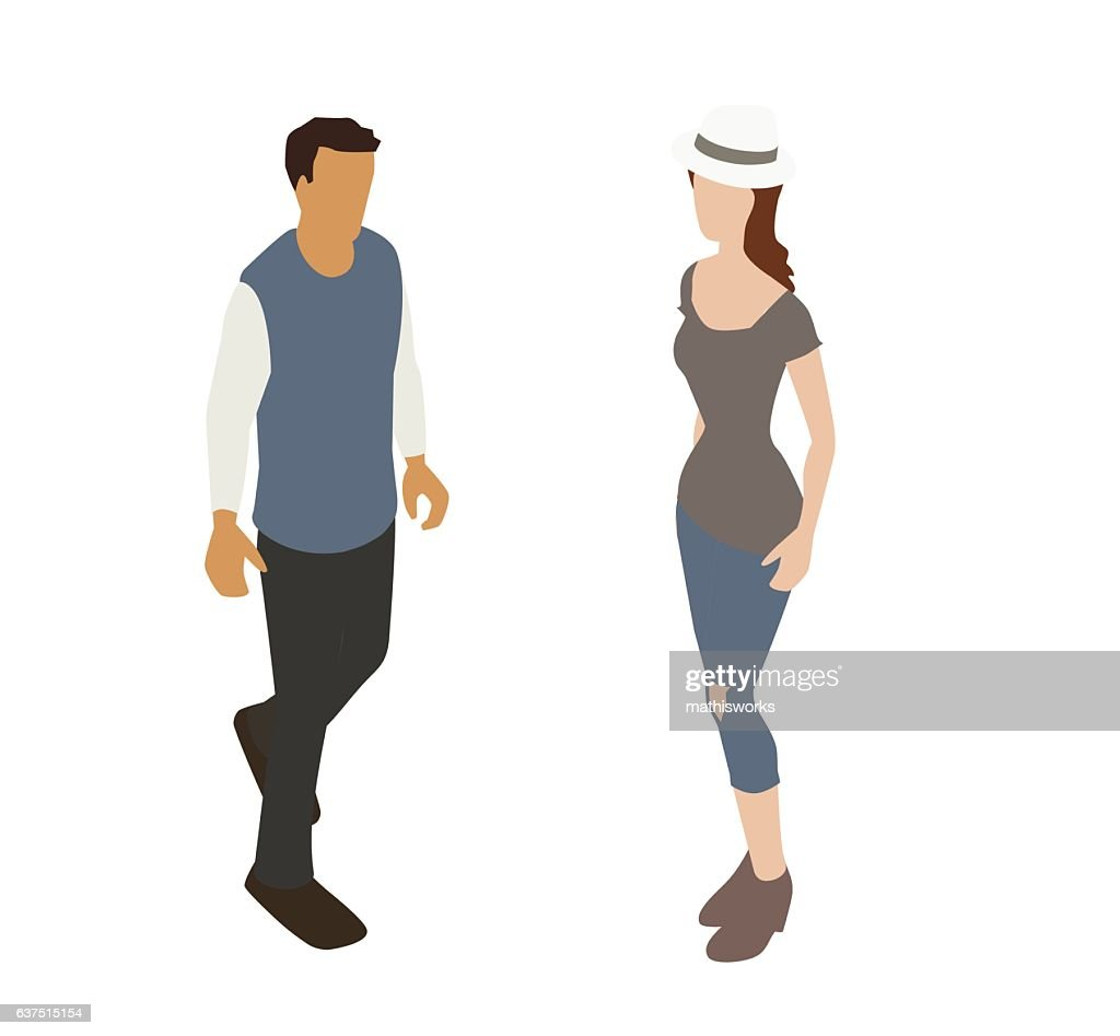 Millennial Couple Spot Illustration : Vector Art