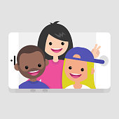 Millennials making a selfie. Young friends having fun. Lifestyle technologies. Mobile application. Flat editable vector illustration, clip art