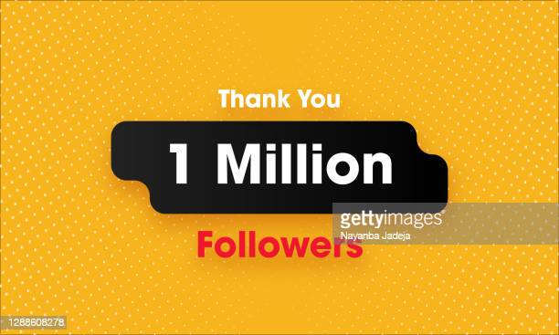 1 million followers banner on halftone background - following stock illustrations