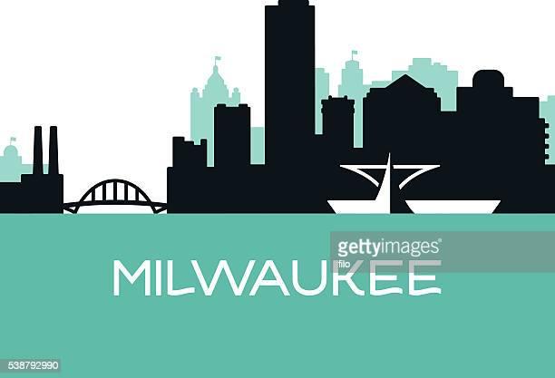 milwaukee skyline - milwaukee wisconsin stock illustrations