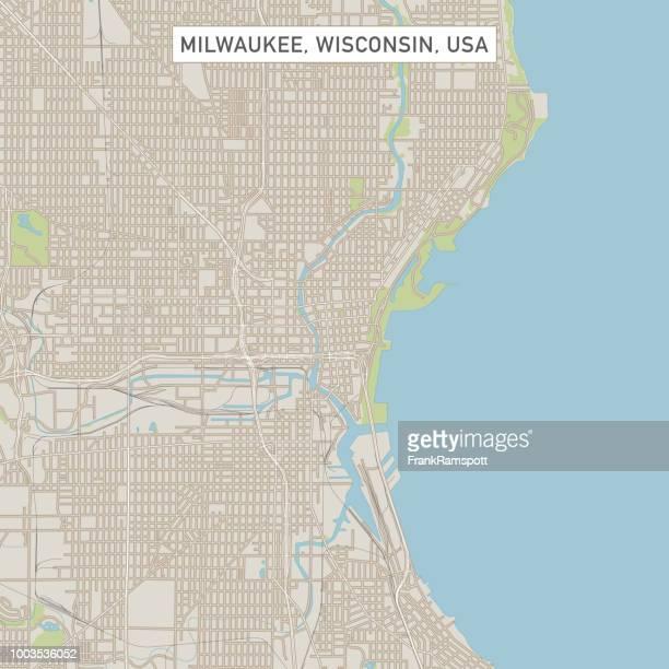 milwaukee wisconsin us city street map - milwaukee wisconsin stock illustrations