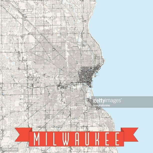 milwaukee, wisconsin, usa vector map - west allis wisconsin stock illustrations