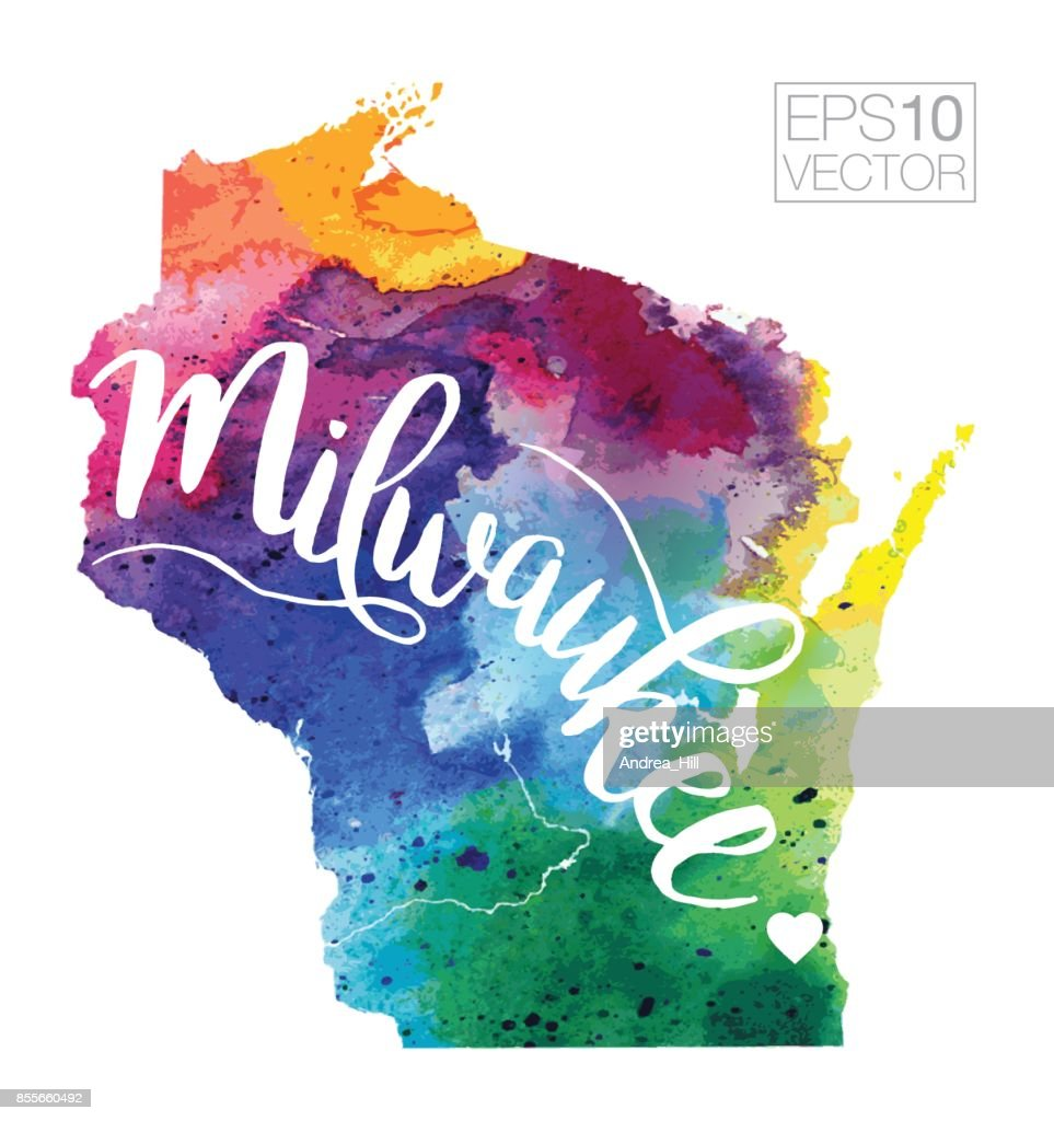 Milwaukee Wisconsin Usa Vector Watercolor Map Vector Art Getty Images