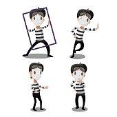 Mime Artist Funny Cartoon Character Vector