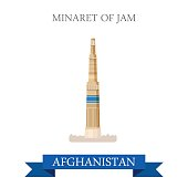 Minaret of Jam in Afghanistan. Flat cartoon style historic sight showplace attraction web site vector illustration. World countries cities vacation travel sightseeing Asia Afghan collection.