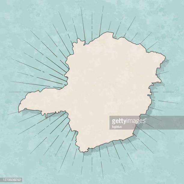 レトロなヴィンテージスタイルのミナスジェライスマップ - 古いテクスチャペーパー - ミナスジェライス州点のイラスト素材/クリップアート素材/マンガ素材/アイコン素材