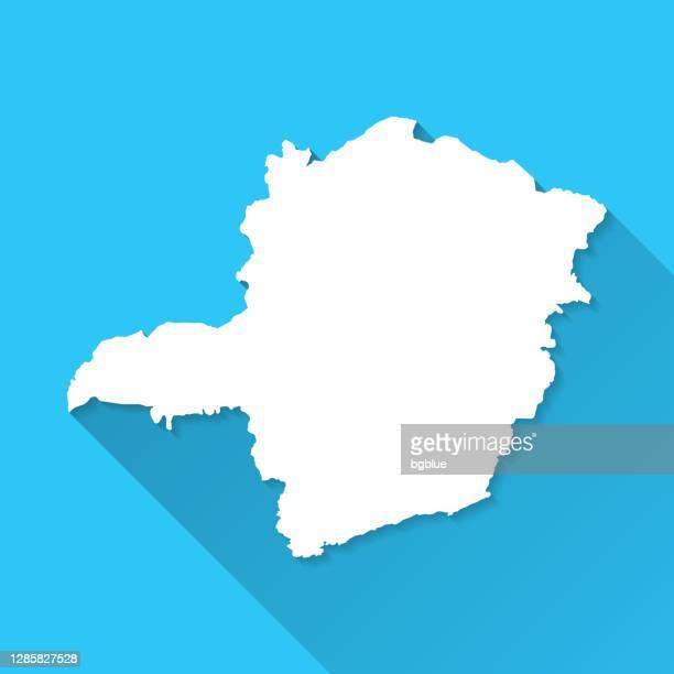 青の背景に長い影を持つミナスジェライスマップ - フラットデザイン - ミナスジェライス州点のイラスト素材/クリップアート素材/マンガ素材/アイコン素材