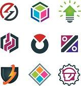 Mind bending attractive application design logo modern solution icon set