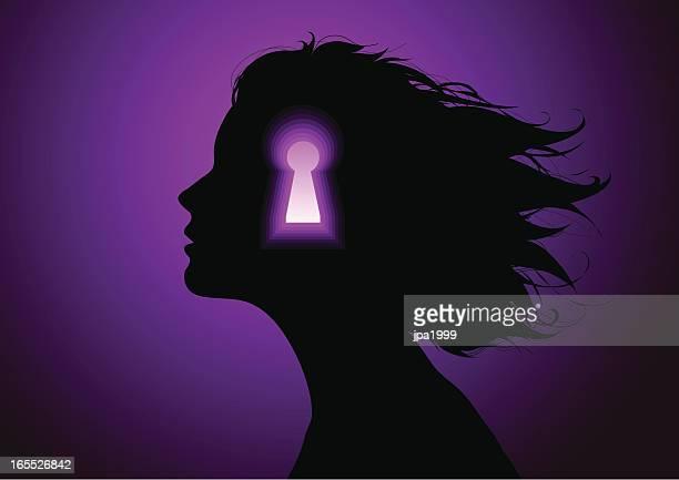mind lock - psychotherapy stock illustrations