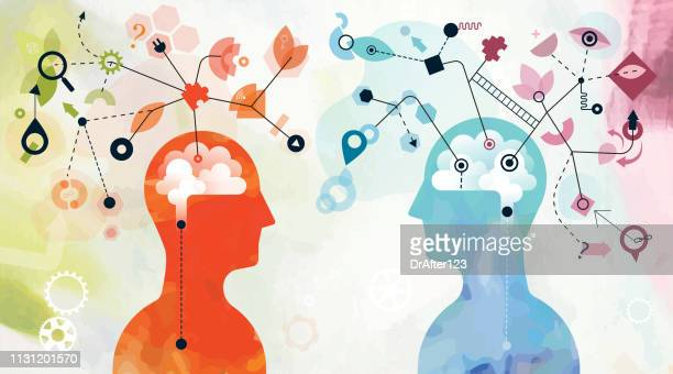 mind mapping concept - two people stock illustrations