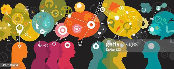 mind mapping landscape on dark background - optical instrument stock illustrations, clip art, cartoons, & icons