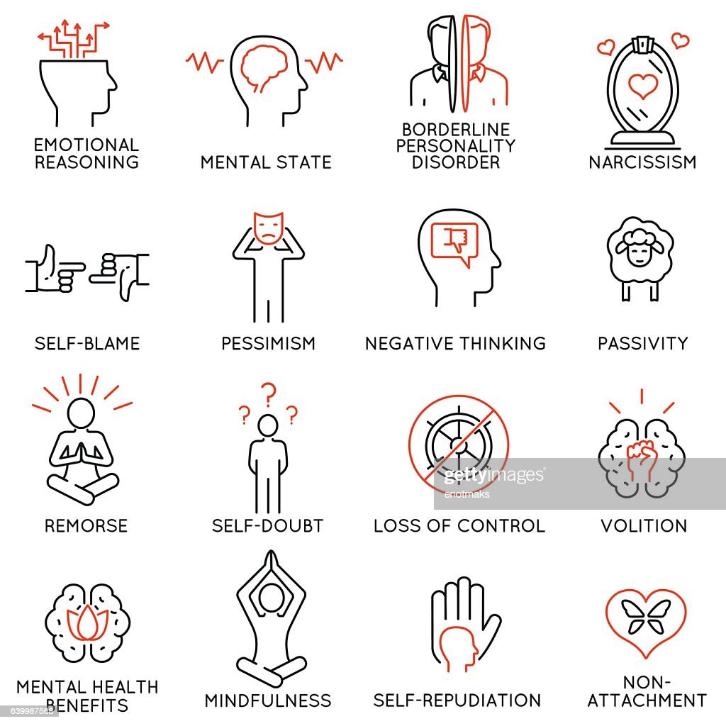 mindfulness, awareness, consciousness and mental conditions icons - 1