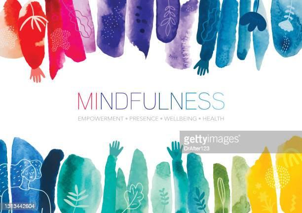 ilustraciones, imágenes clip art, dibujos animados e iconos de stock de mindfulness acuarela creative abstract background - bienestar