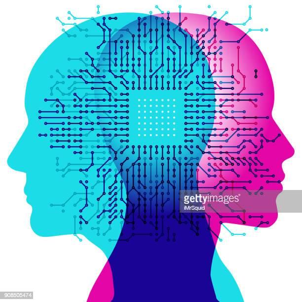 a.i. minds - computer chip stock illustrations, clip art, cartoons, & icons