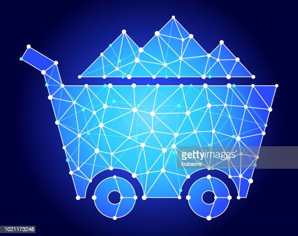 Mine Cart Blue Triangle Node Vector Pattern