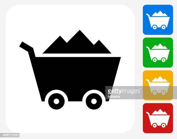 Mine Cart Icon Flat Graphic Design