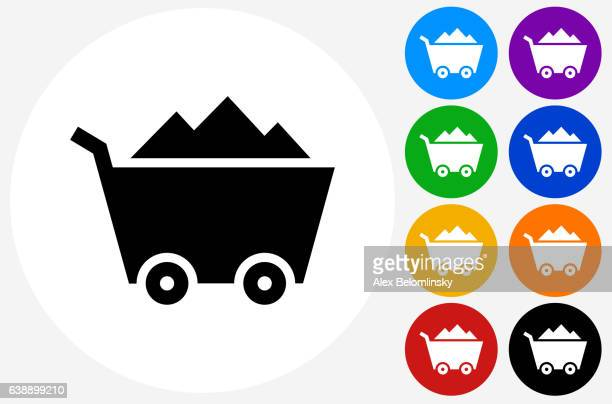 Mine Cart Icon on Flat Color Circle Buttons