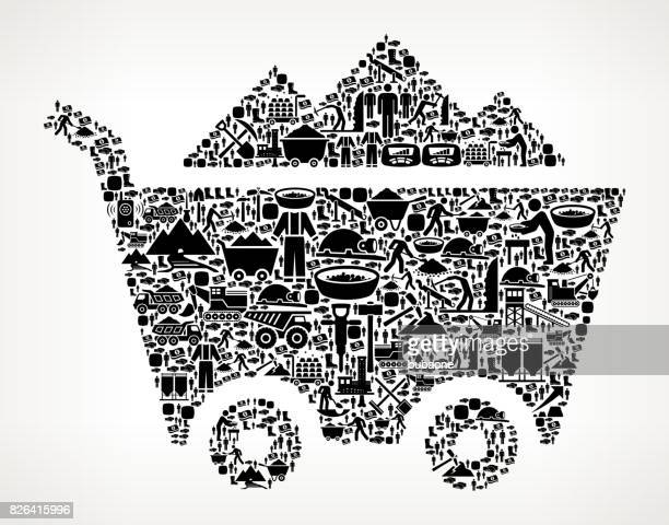 Mine Cart Mining Industry Vector Icon Pattern