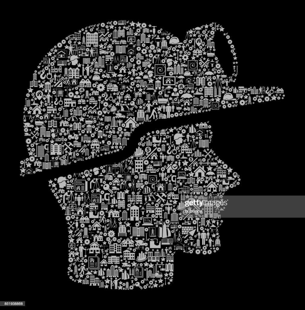 Miner Face  Construction Industry Vector Icon Pattern : stock illustration