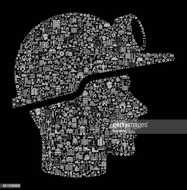 Miner Face  Construction Industry Vector Icon Pattern
