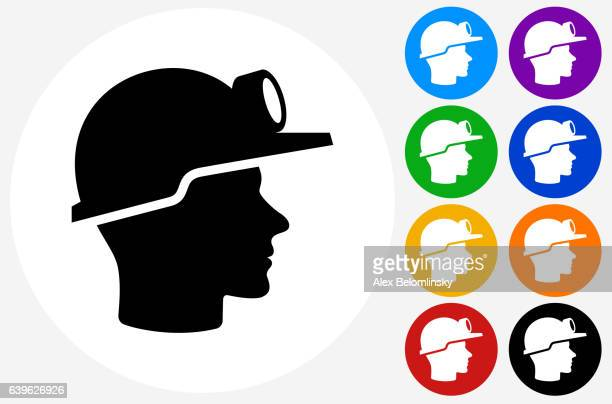Miner Face Icon on Flat Color Circle Buttons