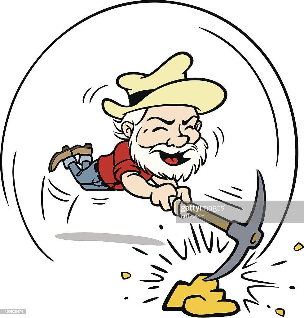 Miner Mining Gold : stock illustration