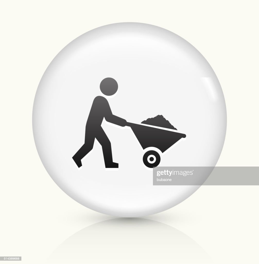 Miner Mining icon on white round vector button : stock illustration
