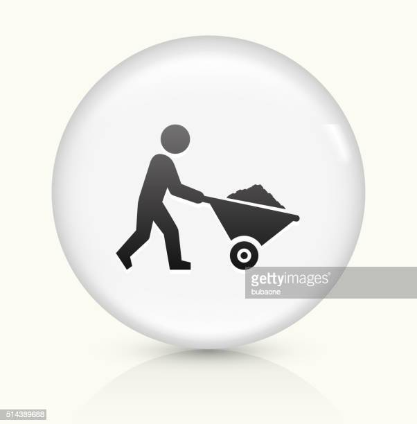 Miner Mining icon on white round vector button