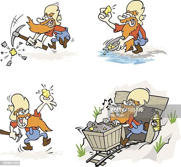 miner set - gold rush stock illustrations