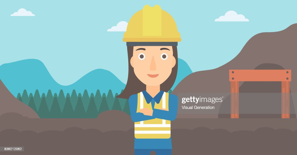 Miner with mining equipment on background