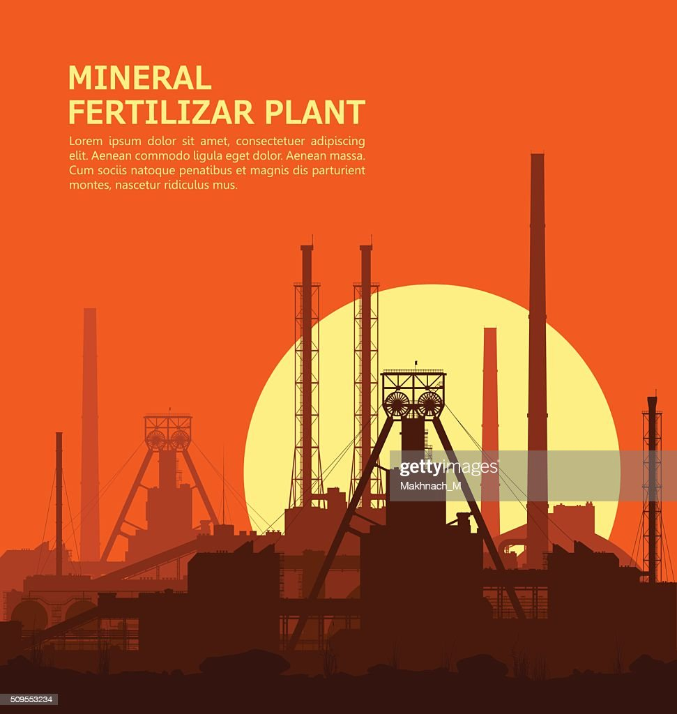 Mineral fertilizers plant at sunset