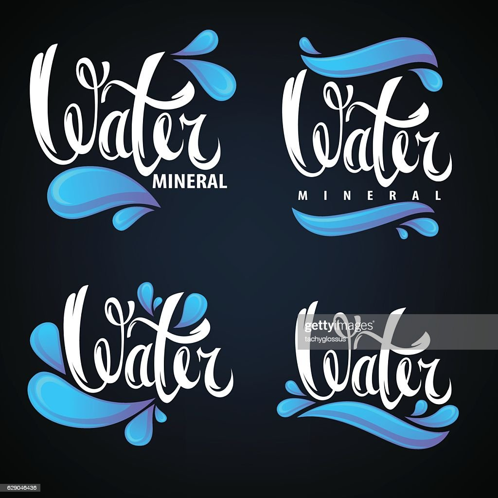 mineral water, lettering composition, labels and stickers
