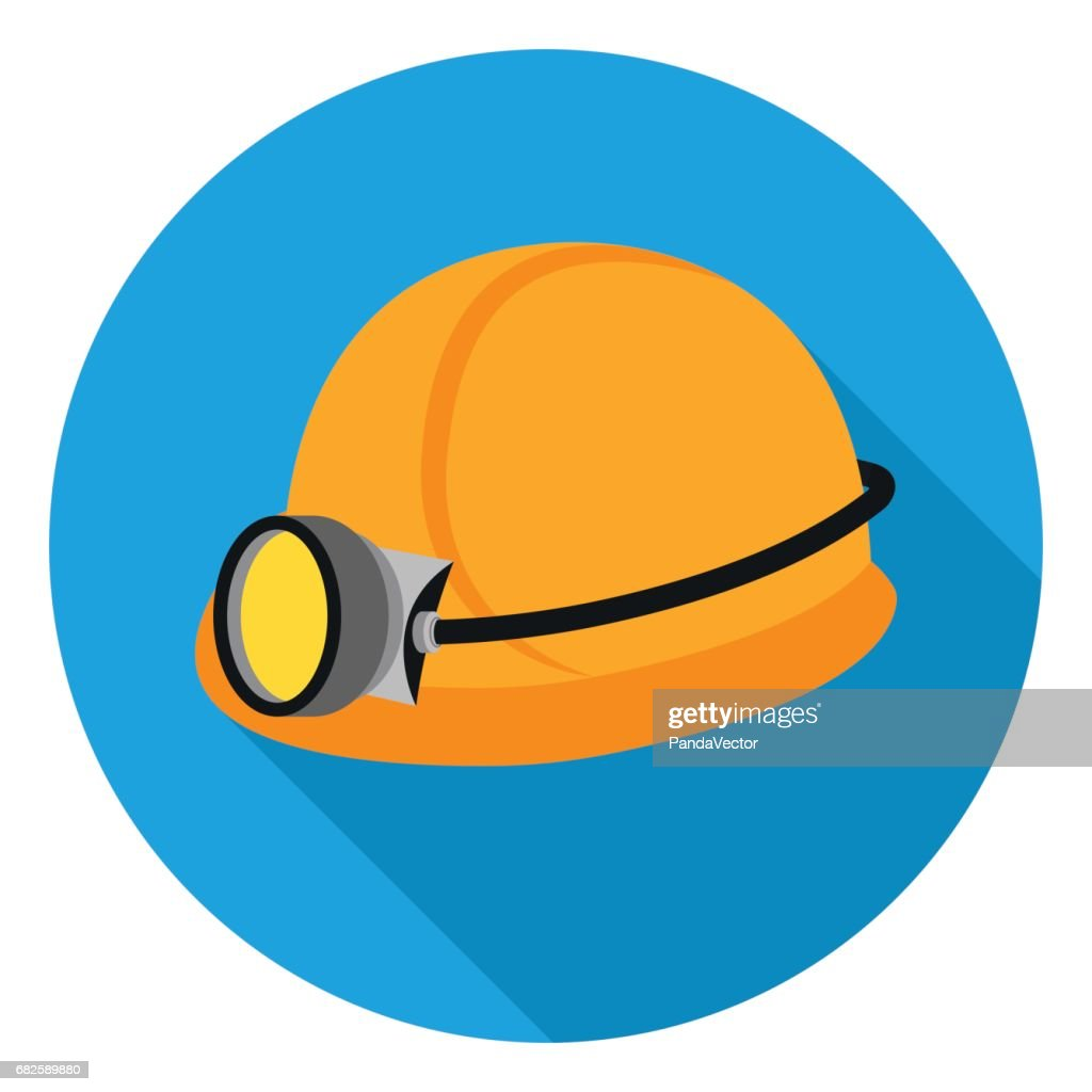 Miner's helmet icon in flat style isolated on white background. Mine symbol stock vector illustration.