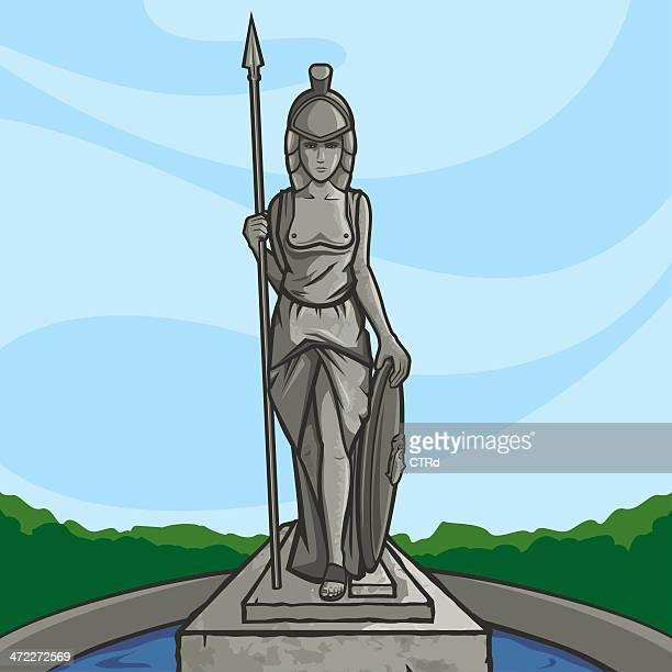 minerva - roman goddess stock illustrations